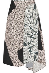 Cedric Charlier Wrap Effect Printed Satin Twill Midi Skirt Blush