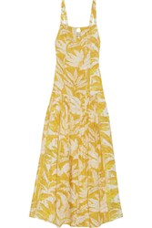Adriana Degreas Tropical Leaves Printed Voile Maxi Dress Yellow