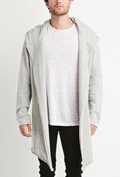 Forever 21 Heathered Longline Asymmetrical Hoodie Heather Grey