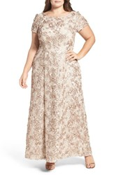 Alex Evenings Plus Size Women's Rosette Lace Short Sleeve A Line Gown Sand