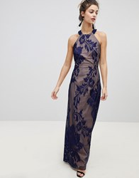 Little Mistress Embellished High Neck Maxi Dress Navy