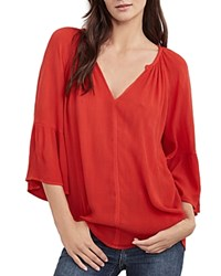 Velvet By Graham And Spencer Peasant Blouse Rio Red