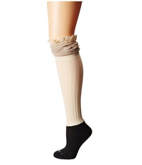 Bootights Betsy Burlap Darby Cream Women's Crew Cut Socks Shoes Beige