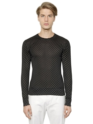 Dolce And Gabbana Polka Dot Printed Silk Sweater Black White