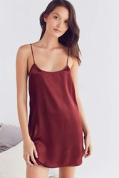 Out From Under Steff Satin Strappy Slip Maroon