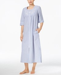 Miss Elaine Long Striped Robe Navy White Stripe