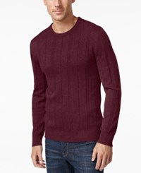 John Ashford Men's Big And Tall Crew Neck Striped Texture Sweater Only At Macy's Cherry Wine
