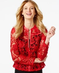 Inc International Concepts Faux Leather Lace Jacket Only At Macy's Glamorous Red