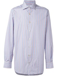 Kiton Pinstriped Button Down Shirt Blue