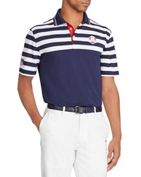 Ralph Lauren Wednesday Usa Ryder Cup Striped French Knit Golf Polo Shirt Navy