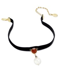 Paul And Pitu Naturally 14K Gold Plated Cornelian Freshwater Pearl Jet Stretch Velvet Choker Necklace Black