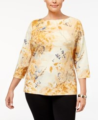Charter Club Plus Size Printed Boat Neck Top Created For Macy's Sahara Gold Combo