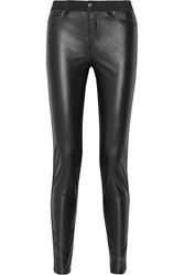 Mcq By Alexander Mcqueen Faux Leather Paneled Mid Rise Skinny Jeans