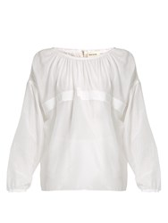 Maison Rabih Kayrouz Grosgrain Trimmed Cotton And Silk Blend Voile Top White
