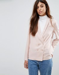 New Look Crepe Double Breasted Soft Blazer Nude Pink