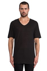Alexander Wang Slub Rayon Silk Low Neck Tee Black