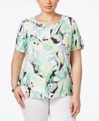 Jm Collection Woman Jm Collection Plus Size Printed Short Sleeve Top Only At Macy's Green Water Floral
