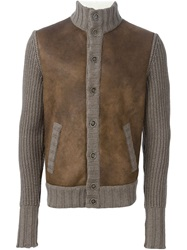 Barba Panelled Button Cardigan Grey