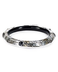Alexis Bittar Crystal Encrusted Origami Bangle Antique Silver