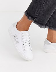 Karl Lagerfeld White Leather Single Sole Trainers With Metal Branding