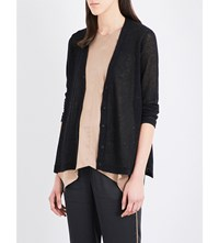 Brunello Cucinelli Sequin Embellished Linen And Silk Blend Cardigan Black