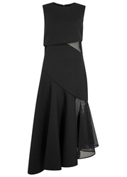 Dkny Black Panelled Mesh And Jersey Gown