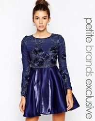 True Decadence Petite Embellished Mesh Prom Dress Navy