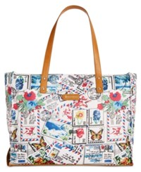 Giani Bernini Nylon Foldable Packable Tote Only At Macy's Postcard Print