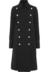 Versus By Versace Double Breasted Leather Trimmed Wool Twill Coat Black