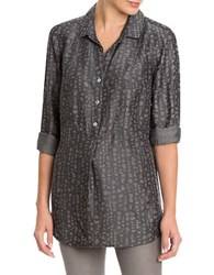 Nic Zoe Printed Long Sleeve Shirt Grey
