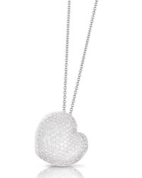 Pasquale Bruni Pave Diamond Heart Pendant Necklace In 18K White Gold
