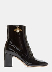 Gucci Gold Bee Motif Patent Ankle Boots Black