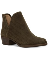 Lucky Brand Baley Perforated Chop Out Booties Women's Shoes Dark Moss