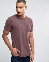 Esprit Slim Fit T Shirt With Pocket And Cuffed Sleeve Dark Brown 200