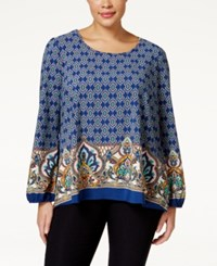 Ing Plus Size Printed Bell Sleeve Top Blue Multi