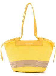 Elena Ghisellini Panelled Woven Tote Yellow