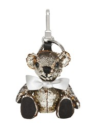Burberry Thomas Bear Charm In Sequins And Leather Silver
