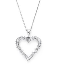 Bloomingdale's Diamond Round And Baguette Heart Pendant Necklace In 14K White Gold .75 Ct. T.W.