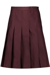 Marni Pleated Satin Skirt Burgundy