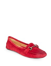 Patricia Green Carrie Suede Driver Moccasins Red
