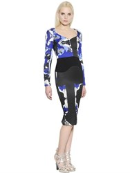 Antonio Berardi Printed Patchwork Crepe And Cady Dress