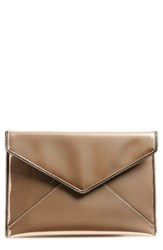 Rebecca Minkoff Leo Patent Leather Envelope Clutch Metallic Rose Gold Gunmetal