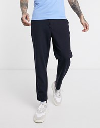 Farah Hawtin Hopsack Cropped Trousers In Navy