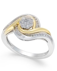 Macy's Diamond Cluster Two Tone Swirl Ring 1 3 Ct. T.W. In Sterling Silver And 14K Gold Two Tone