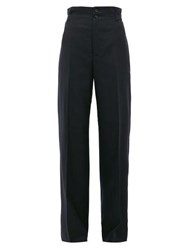 Connolly High Rise Wool Blend Wide Leg Trousers Navy