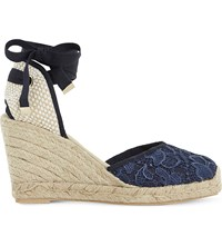 Dune Kloss Crochet Espadrille Wedge Sandals Navy Fabric