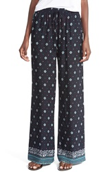 The Hanger Print Palazzo Pants Juniors Navy
