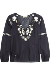 Tory Burch Embroidered Cotton Poplin Top Navy