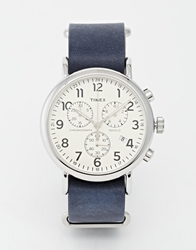 Timex Weekender Chronograph Military Strap Watch Navy