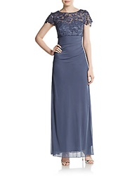 Patra Lace Top Cap Sleeve Gown Steel